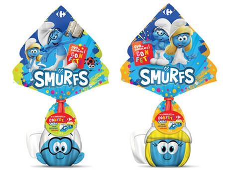 Os Smurfs em marca própria do Carrefour nesta Páscoa