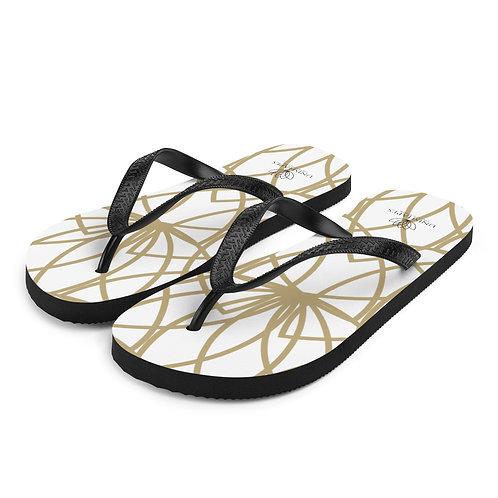 Golden Lotus Flip-Flops
