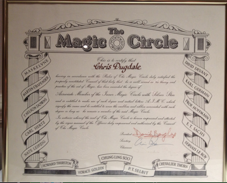 Magic Circle Certificate Associate of The Inner Magic Circle