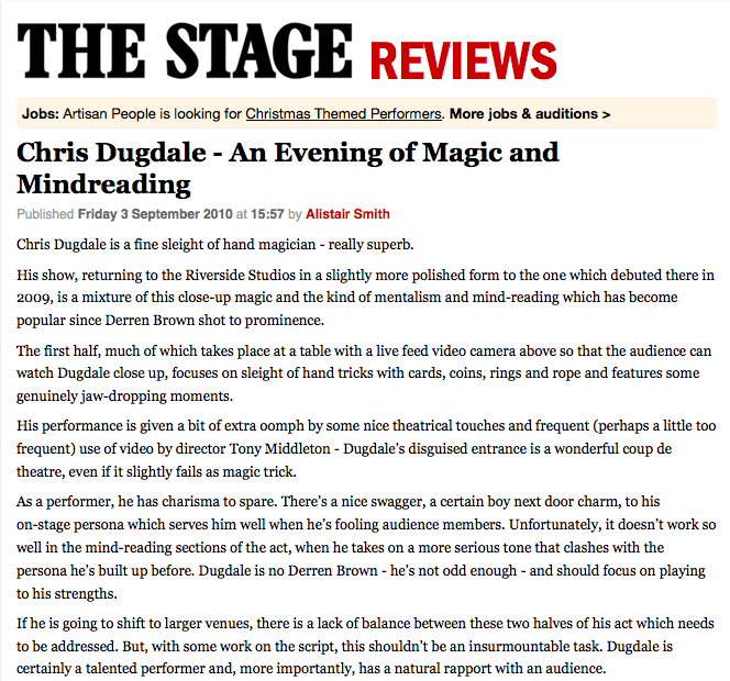 The Stage National Review 2