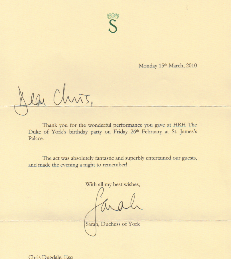 Duchess of York Testimonial