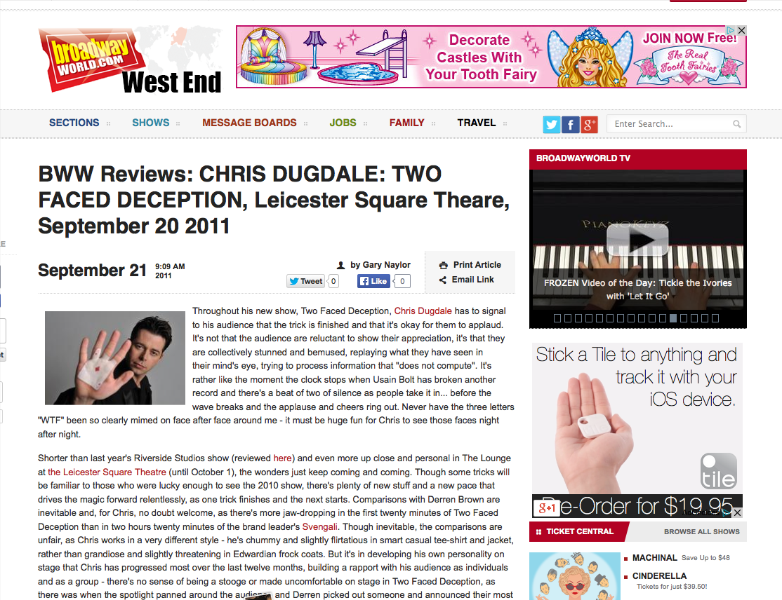 Broadway World Review WEST END