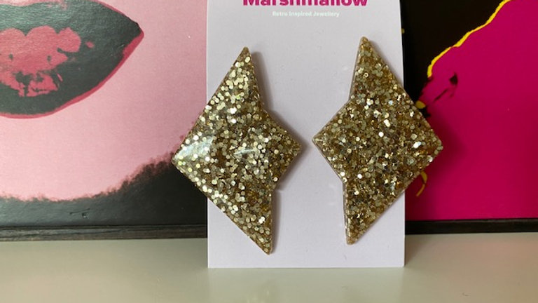 Gold Sparkle Geometric 'Kite' Earrings