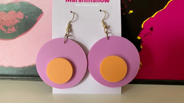 60s Mod Design Round Pastel Earring