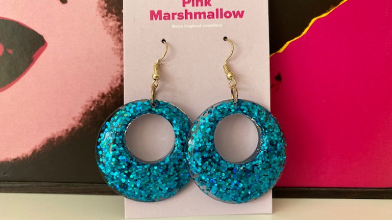 Blue Sparkle Hoop Dangle Earring