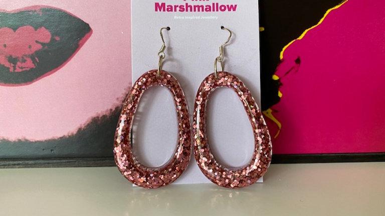 Rose Gold Sparkle Retro 'Egg Shaped' Hoop Dangle Earrings