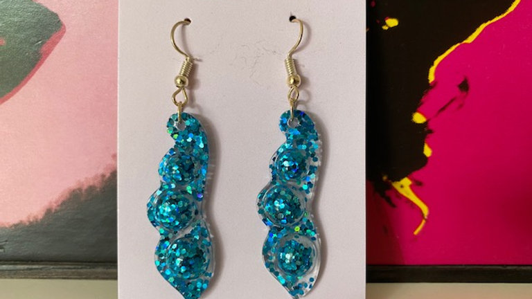 Blue Pea Pod Dangle Earrings