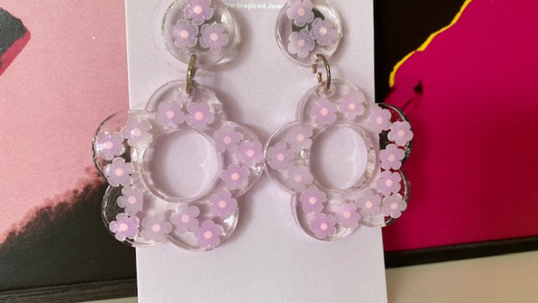 60s Retro Flower 'Violet' Earrings