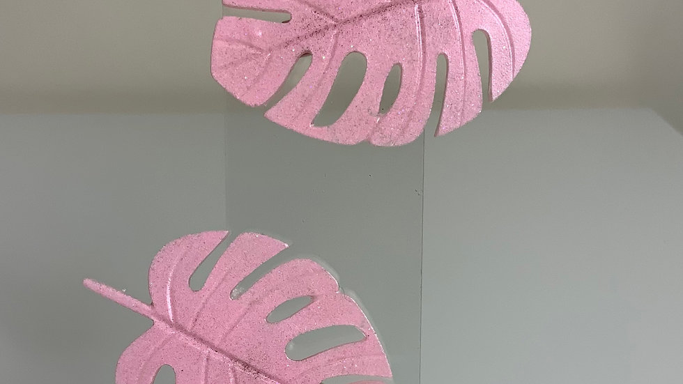 Pink Monstera Palm Design Hair Clip