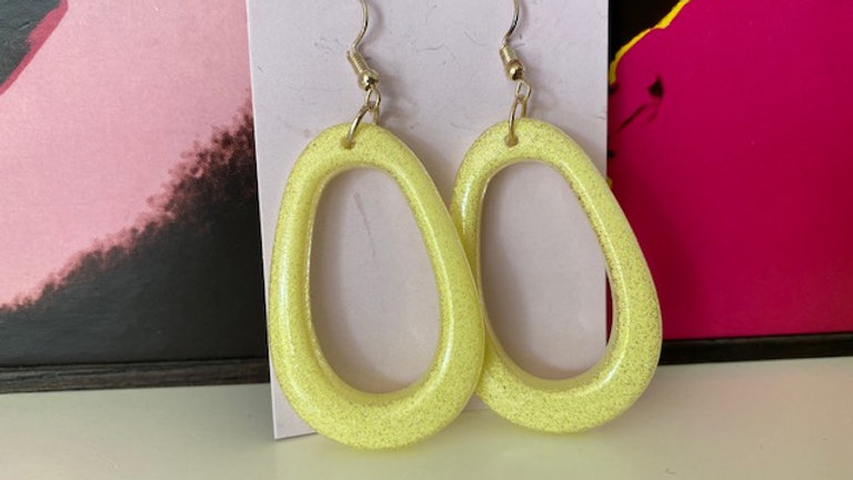 Lemon Yellow Retro 'Egg Shaped' Hoop Dangle Earrings