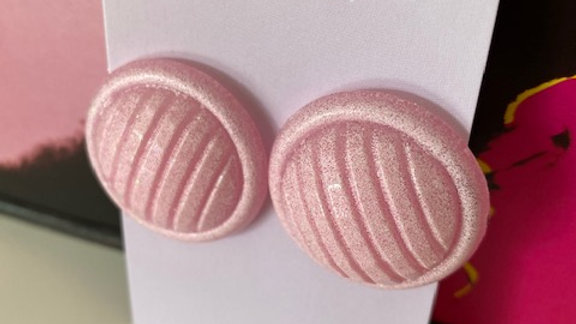 Pastel Pink Round Retro Earrings