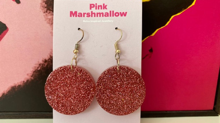Round Rose Gold Fine Sparkle Earrings