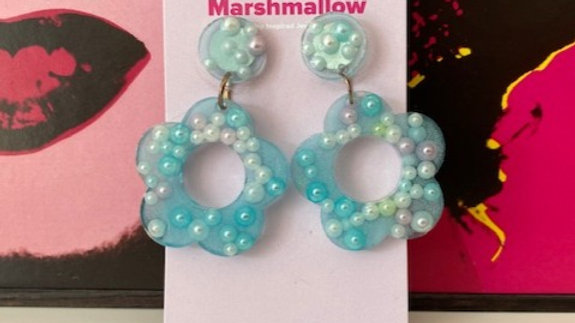 60s Retro Flower 'Blue Pearl' Earrings