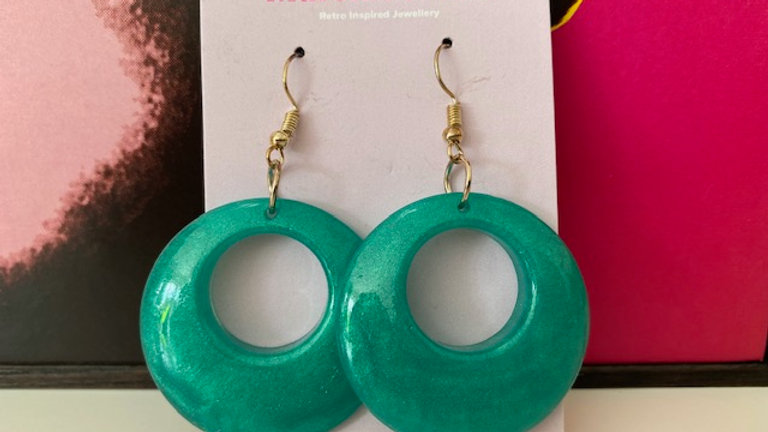 Emerald Green Hoop Dangle Earring