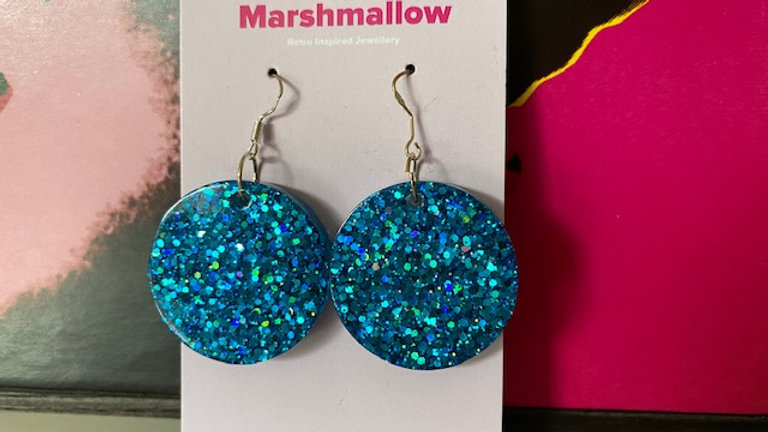 Round Blue Sparkle Earrings
