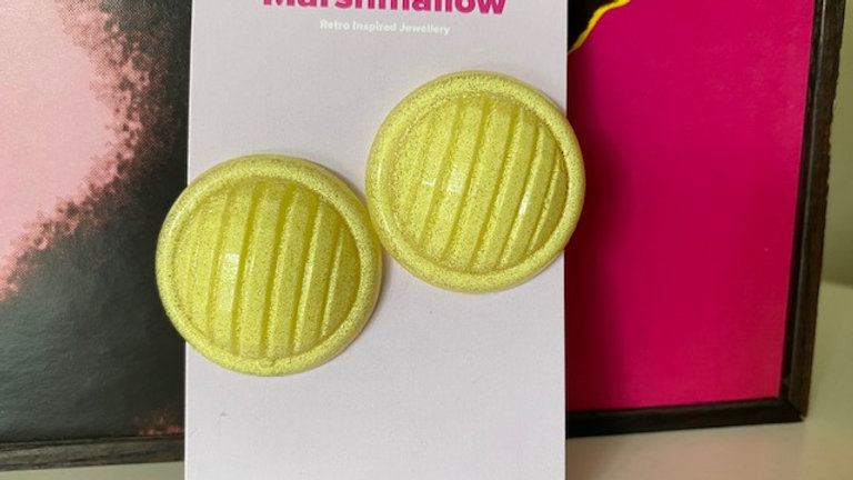 Lemon Yellow Round Retro Earrings