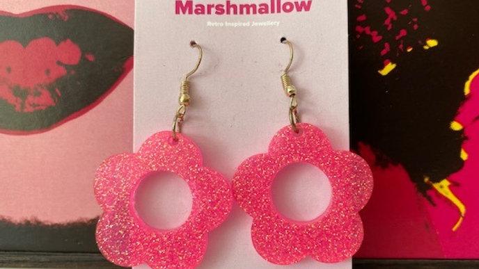 60s Retro Flower 'Pink Sparkle' Earrings