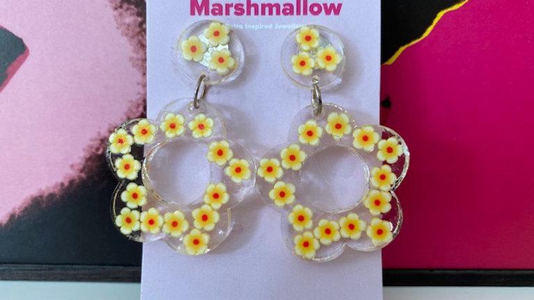 60s Retro Flower 'Yellow Daisy' Earrings