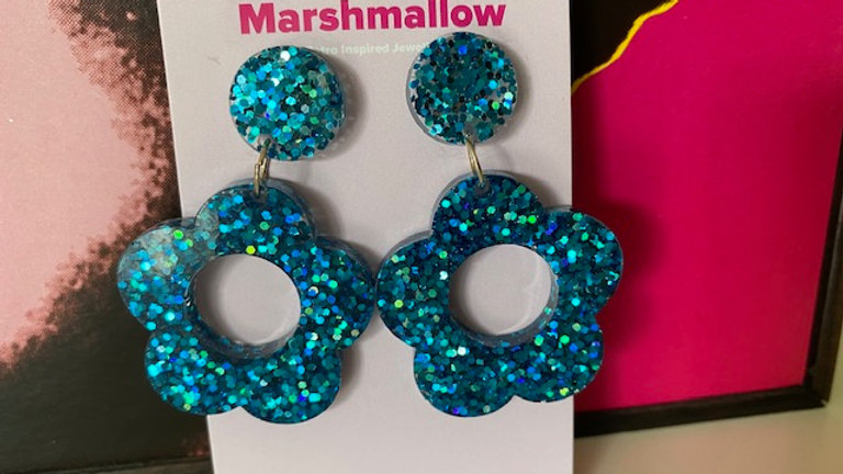 60s Retro Flower Design Blue Sparkle Earrings