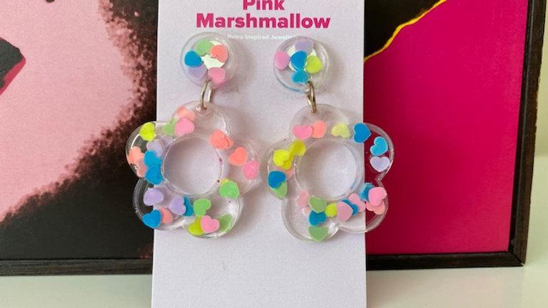 60s Retro Flower 'Pastel Hearts' Earrings