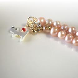 上質淡水パールとシェル猫のネックレス