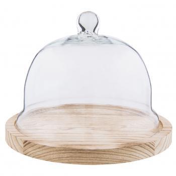 Glasglocke mit Holzteller Clayre & Eef