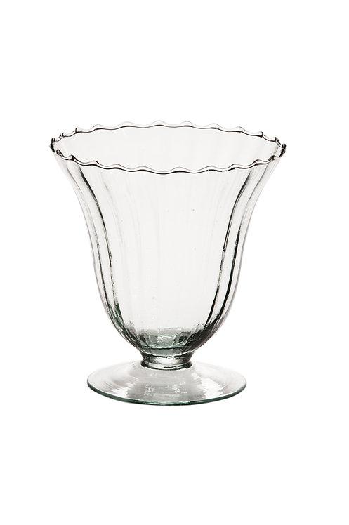Vase Rillen mit Fuß