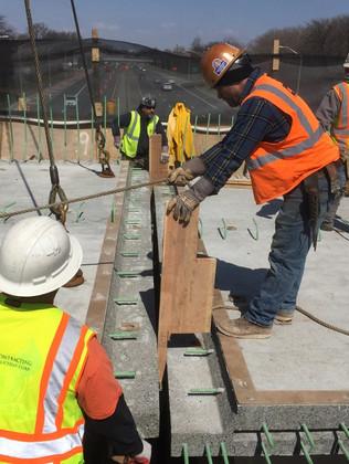 Installation of bridge precast panels
