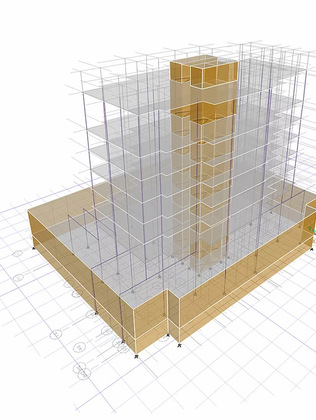 Etab model for 8 story concrete structure