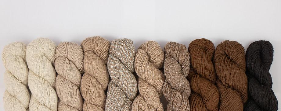 Natürliche Alpaka Wolle in verschiedenen Braun Tönen