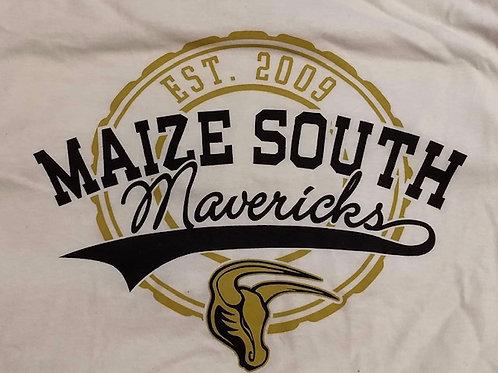 T-Shirt White - Gold Circle & Cursive Mavericks
