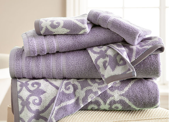 6 Piece Towel Set, Jacquard Border Filigree Design