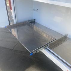 Aluminum refrigerator slide out for trailer