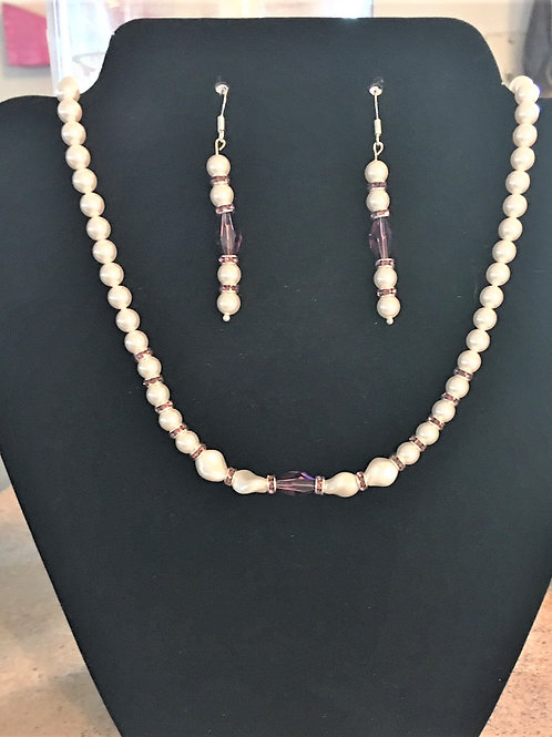 Purple Amethyst Crystal and Pearl Necklace - Additional pieces sold separately