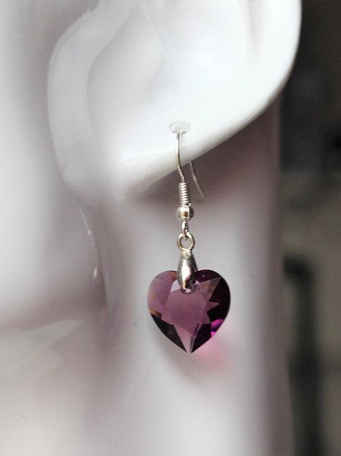 Purple Amethyst Crystal Heart Pendant Earrings