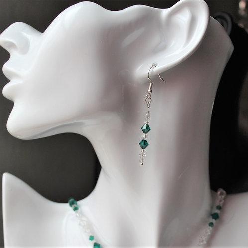 Emerald Crystal Earrings - May Birthstone