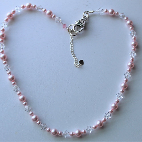Soft Pink Pearl and Crystal Necklace - Additional pieces sold separately