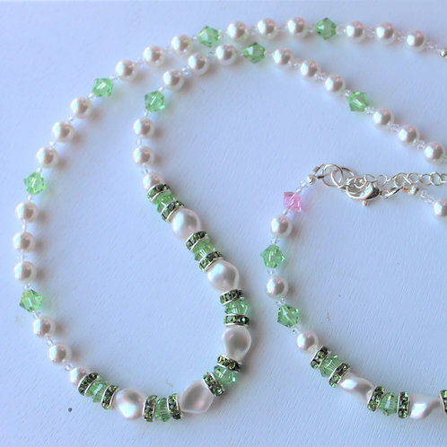 Peridot Crystal and White Pearl Necklace - Additional Pieces Sold Separately