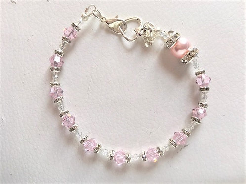 Soft Pink Crystal and Pearl Rosary Bracelet