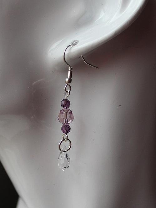 Amethyst and Crystal Dangling Earrings