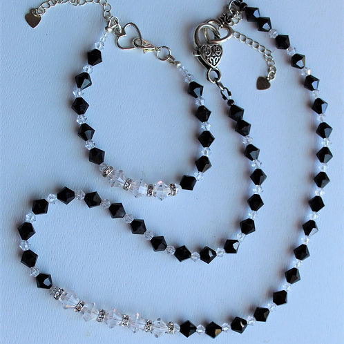 Black and Clear Crystal Necklace