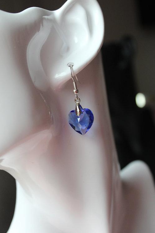Blue Sapphire Crystal Heart Pendant Earrings