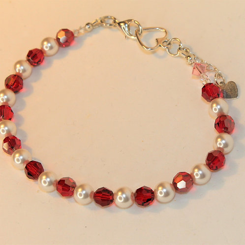 Red Crystal and White Pearl Bracelet