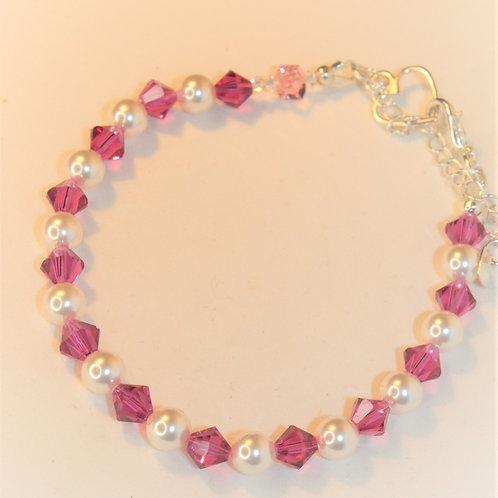 Fuchsia Crystal and White Pearl Bracelet