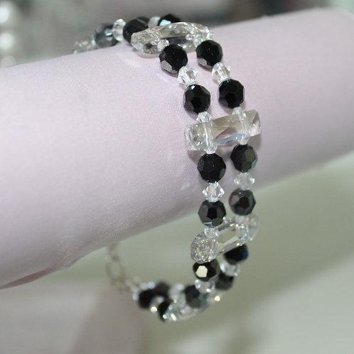 Jet Black and Clear Crystal Double Strand Bracelet