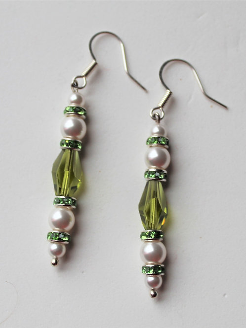 Peridot Green Crystal and Pearl Earrings - Additional Pieces Sold Separate