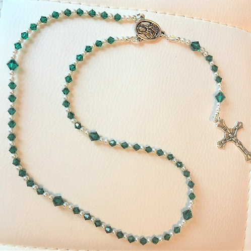 Emerald Green Crystal Rosary Beads