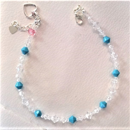 Turquoise and Clear Ankle Bracelet