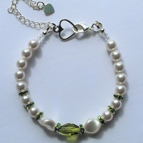 Peridot Green Crystal and Pearl Bracelet - Additional Pieces Sold Separate
