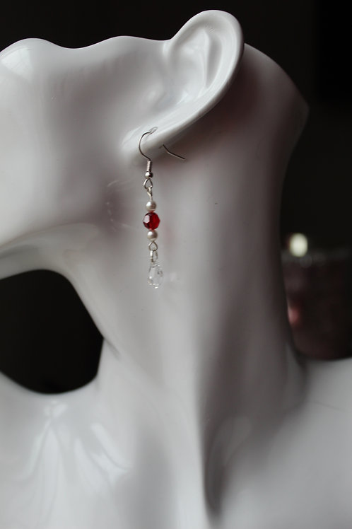 Scarlet Red Crystal and White Pearl Dangling Earrings